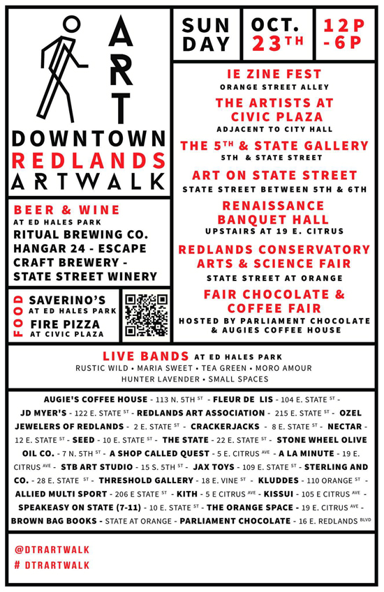 Downtown Redlands Art Walk - October 23, 2016. DTR Art Walk